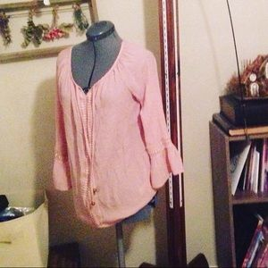 Pink Peasant Style Romantic Blouse